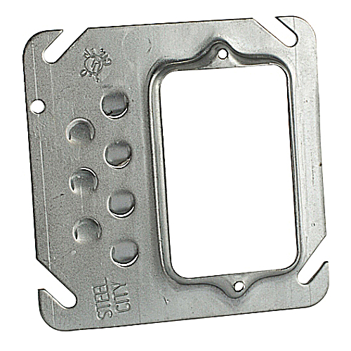 Steel City 52-C-10 Square Box Device Cover; 4 inch, Single Gang, 1/4 inch Raised, Offset, Keyed for Plaster