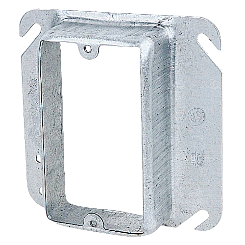 Steel City 52-C-16 4 in. Single Gang Square Box Device Cover, 1 1/4 in. Raised, Pre-Galvanized Steel