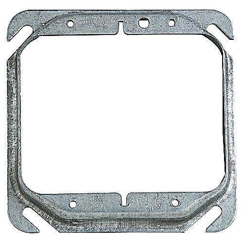 Steel City 52C17-25 4 in. Two Gang Square Box Device Cover, 1/2 in. Raised, Pre-Galvanized Steel