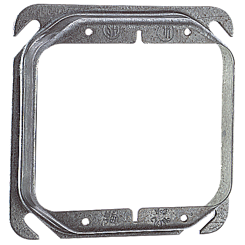 Steel City 52-C-18 4 In Two Gang Square Box Device Cover; 3/4 In Raised, Pre-Galvanized Steel