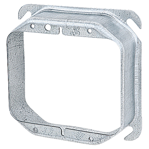 Steel City 52-C-21 4 in. Two Gang Square Box Device Cover, 1 1/4 in. Raised, Pre-Galvanized Steel