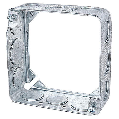 Steel City 53151-1/2 Steel 4 In Square Box Extension Ring; 1/2 In Knockouts