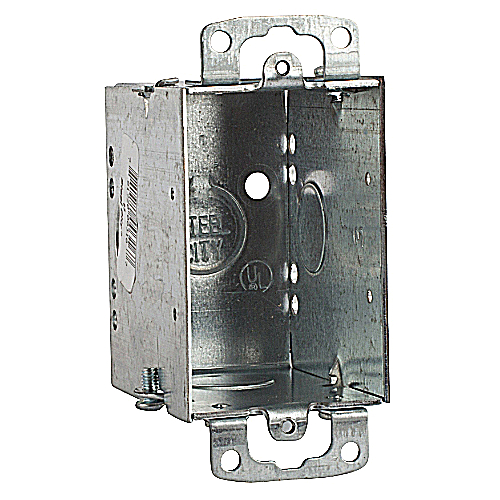 Bowers 53 3x2x2-3/4D Switch Box, Steel, Gangable, 1/2 in. Knockouts