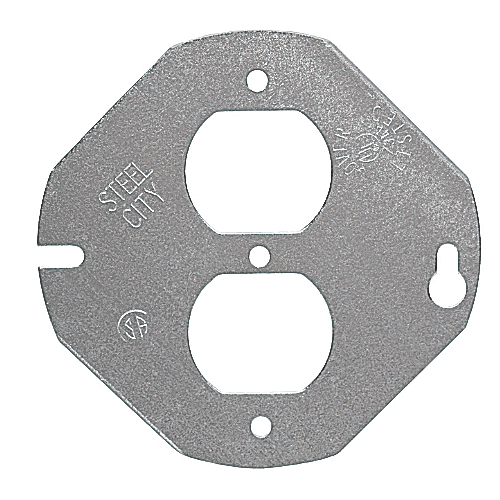 Steel City 5402-LR  4 in. Steel Round and Octagon Box Cover, Flat, Center Blanked for Duplex Receptacle