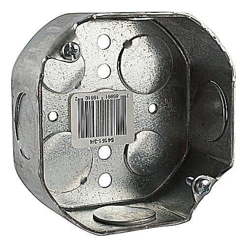 Steel City 54151-3/4 4 in. Octagon Box, 1 1/2 in. Deep, 3/4 in. Knockouts