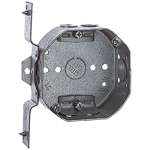 Steel City 54151-NV 4 in. Steel Octagon Box, 1/2 in. Knockouts, Non-Metallic Cable Clamp, V Bracket