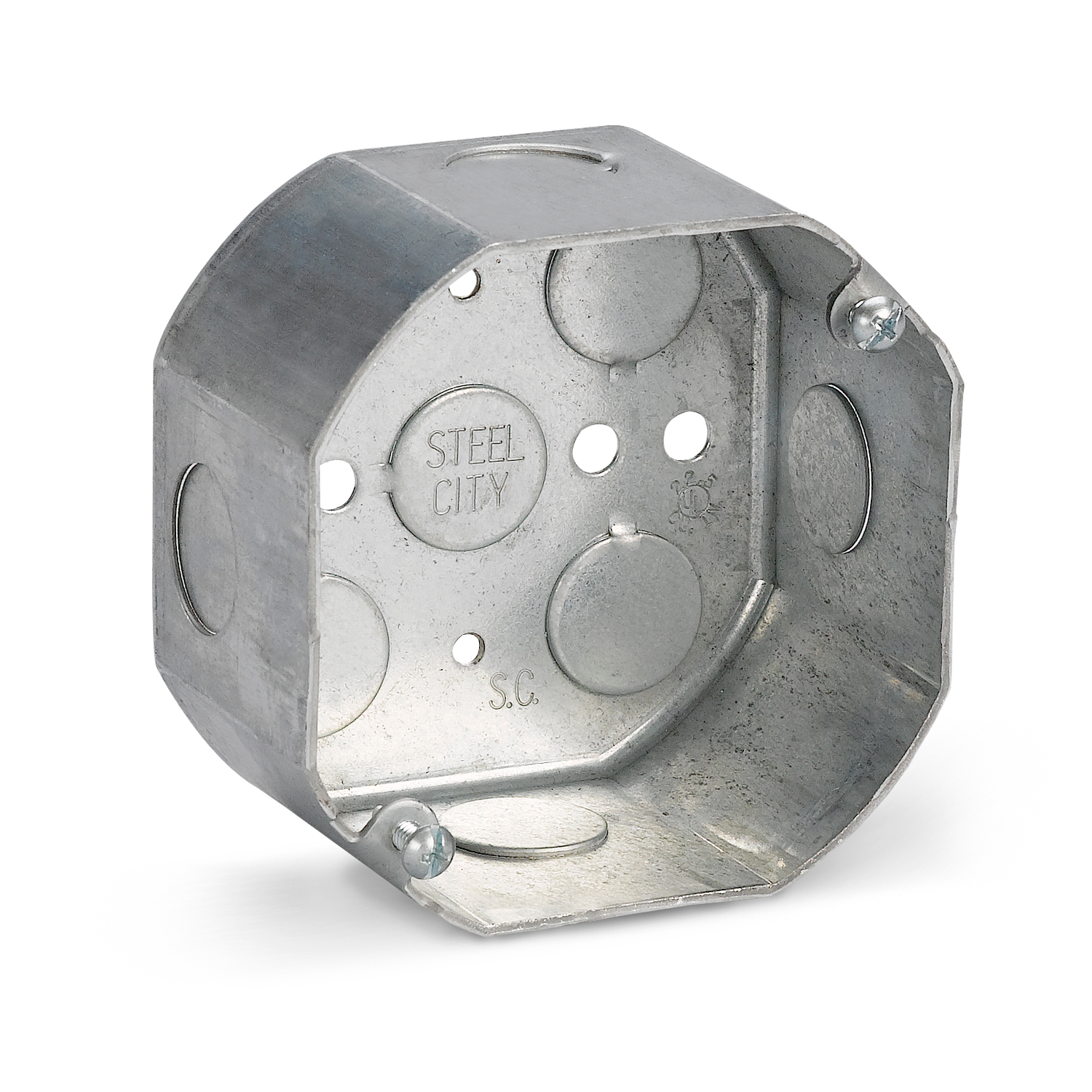 Steel City® Octagon Ceiling Box, 1 Outlet, 2 Knockouts, 1/2 in Knockout, Knockout Cable Entry, 4 in Diameter, Octagonal Shape, 22.5 cu-in Capacity, Steel, Pre-Galvanized, Silver, 2-1/8 in D Dimensions