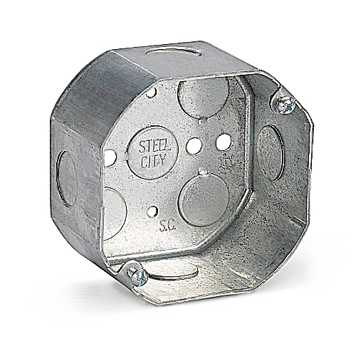Steel City 541711/2-25 4 in. Octagon Box, 2 1/8 in. Deep, 1/2 in. Knockouts