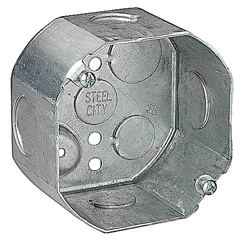 Steel City 54171-1/2-3/4 4 in. Octagon Box, 2 1/8 in. Deep, 1/2 in. and 3/4 in. Knockouts