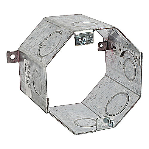 Steel City 54551-1/2-&-3/4 4 in. Steel Octagon Concrete Ring, 3 in. Deep, 1/2 in. and 3/4 in. Knockouts