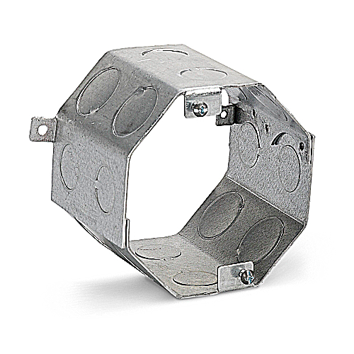 Steel City 54561-1/2-3/4 4 in. Steel Octagon Concrete Ring, 3 1/2 in. Deep, 1/2 in. and 3/4 in. Knockouts