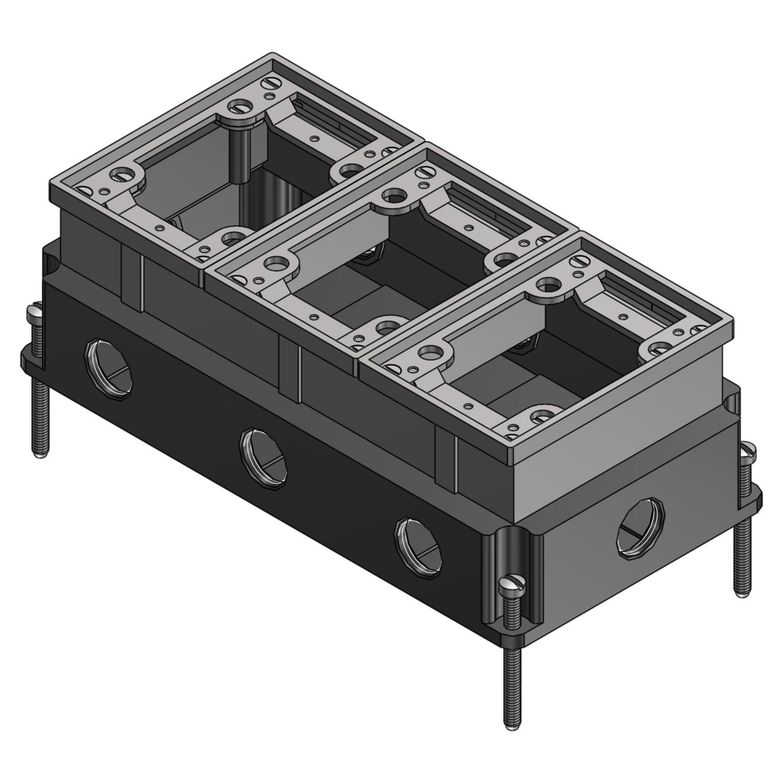 Steel City® Floor Box, Fully Adjustable Watertight, Series: 640, 3 Gangs, 1 in Hub, Flush Mount, 111 cu-in, Cast Iron, Enamel Coated, Silver, 4-1/2 in L x 3 in W