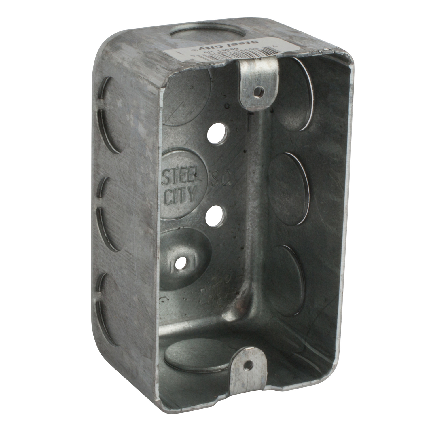 Steel City reg; Utility Handy Box, 1 Gang, 6 Knockouts, 1 #047;2 in Knockout, Knockout Cable Entry, Threaded Mount, 17 cu-in, Steel, Pre-Galvanized, 4-1 #047;8 in L x 2-1 #047;2 in W x 1-15 #047;16 in D
