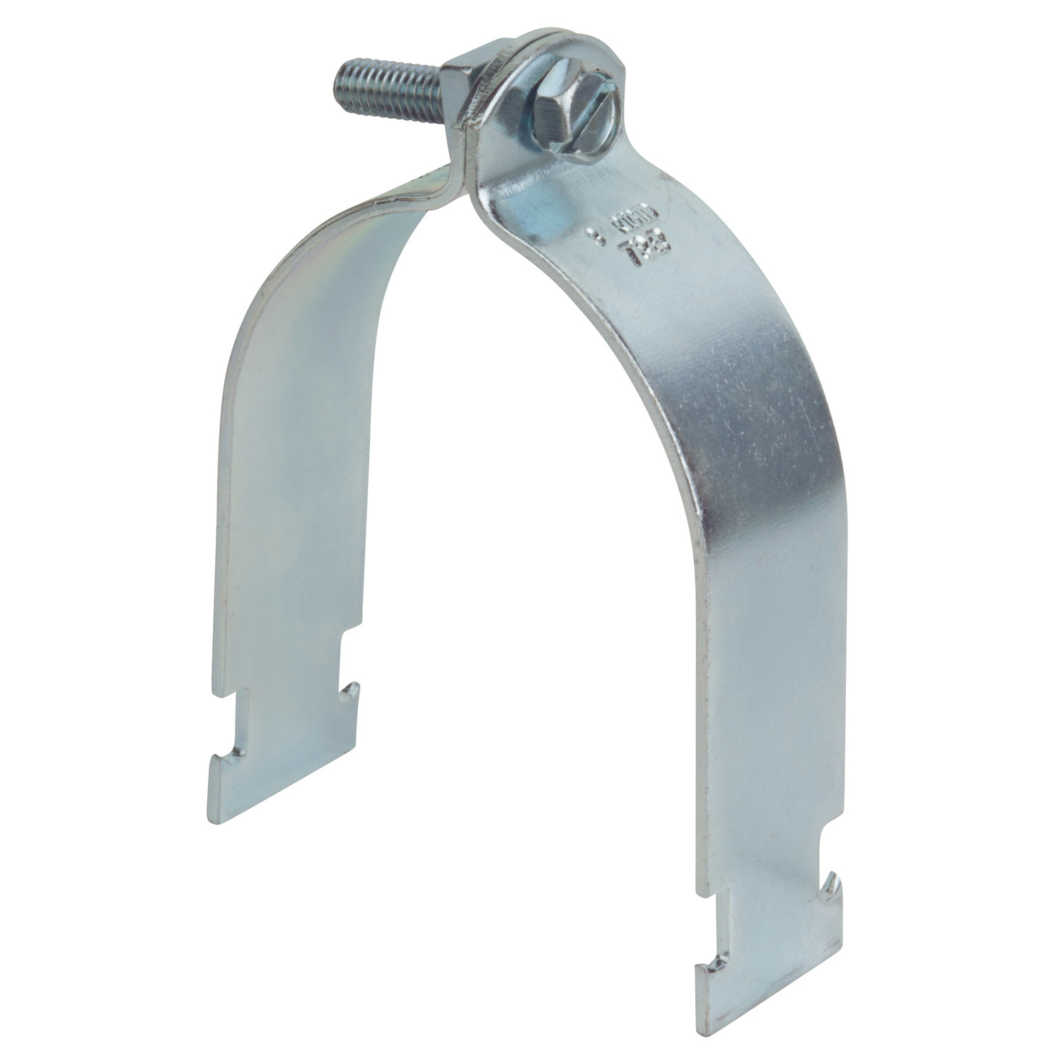 "Superstrut 702-3/4-EG 3/4"" Steel Pipe Strap w/ SilverGalv finish. For use with Rigid/IMC"