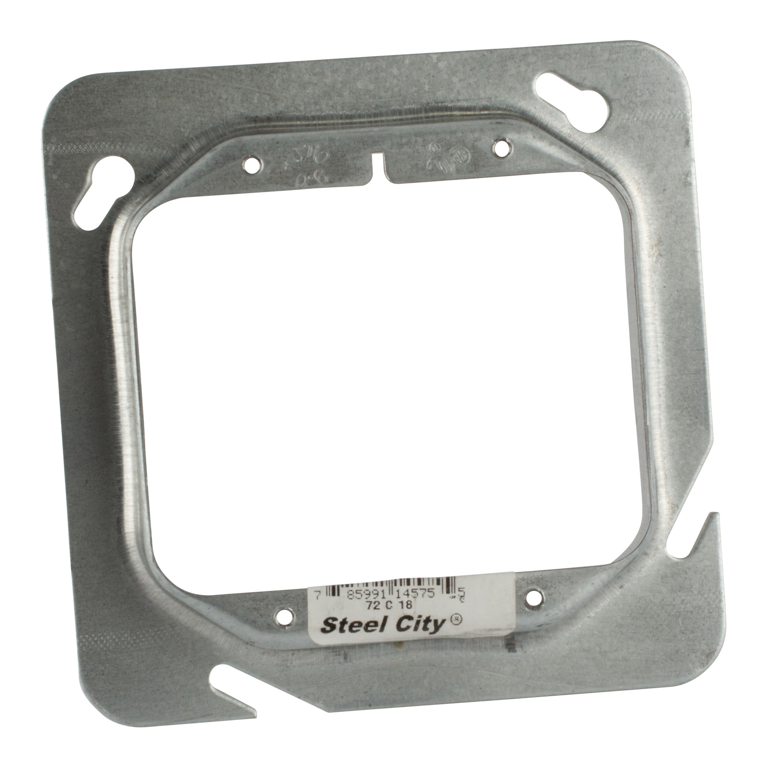 "Steel-City 72C18 4-11/16"" Steel Square Box Device Cover, 3/4"" Raised, 9 cu.in."