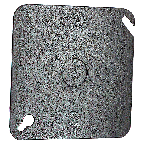 Steel City 72-C-6 4 11/16 in. Square Flat Cover, 1/2 in. Knockout