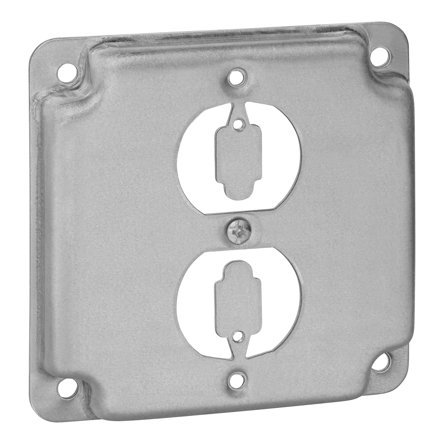 """STEELCTY RS12 4"""" SQUARE SURFACE COVER 5CU 1-DUPLEX 1/2 RAISED"""