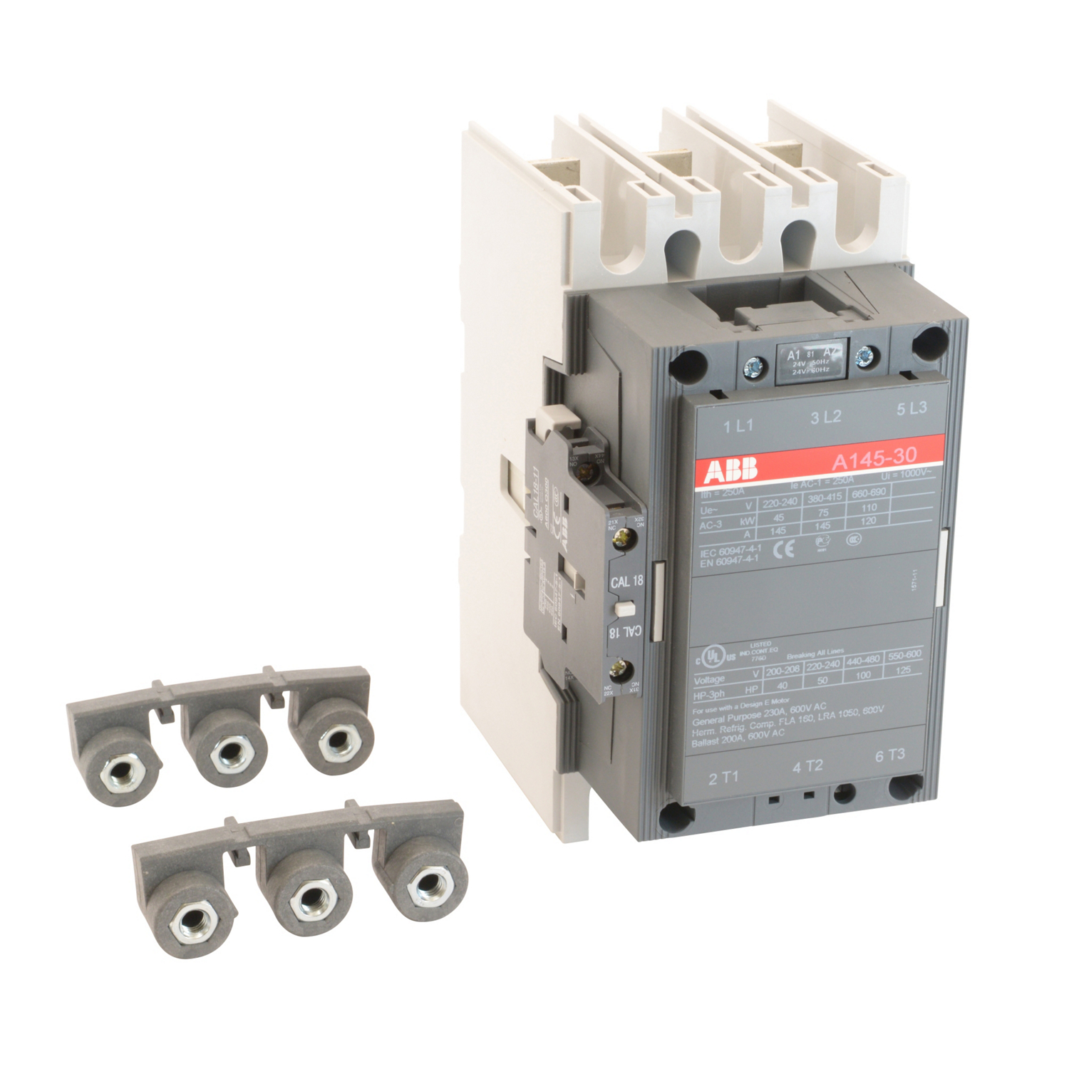 3 pole, 230 amp, non-reversing across the line contactor with 24V AC · ABB  CONTROL A145-30-11-81