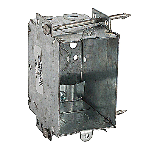 Steel City A257-25 3 in.x2 in.x2 1/2 in. Non-Gangable Switch Box, 1/2 in. Knockouts, Non-Metallic Cable Clamps