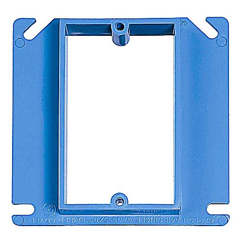 CARLON A410 4 INCH SQUARE 1 GANG 1/2 INCH RAISE 1-DEVICE PLASTER/ MUD RING FRAME NONMETALLIC PVC BLUE ENT BOX EXTENDER
