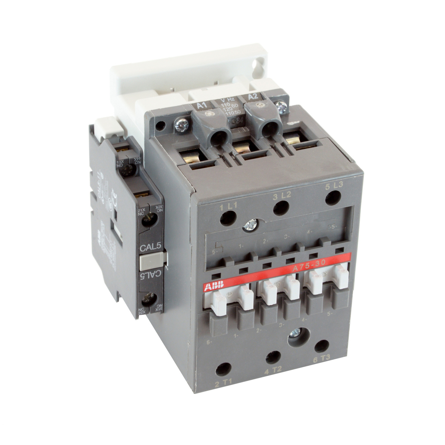 ABB A75-30-11-84 3 pole, 125 amp, non-reversing across the line contactor with 110-120V AC coil and 1 NO and 1 NC auxiliary contacts