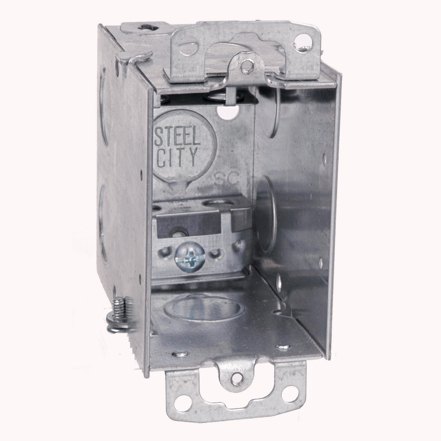 Steel City® Switch Box, Gangable, 1 Outlet, 1 Gang, 6 Knockouts, 1/2 in Knockout, Knockout Cable Entry, Threaded Mounting, 18 cu-in Capacity, Steel, Electro-Galvanized, Silver, 3 in H x 2 in W x 3-1/2 in D Dimensions