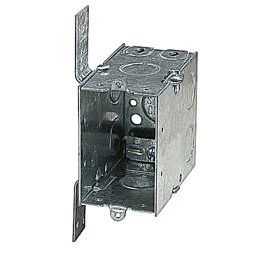 Steel City CXWV 3 in.x2 in.x3 1/2 in. Gangable Switch Box, 1/2 in. Knockouts, CV Bracket, Non-Metallic Cable Clamps