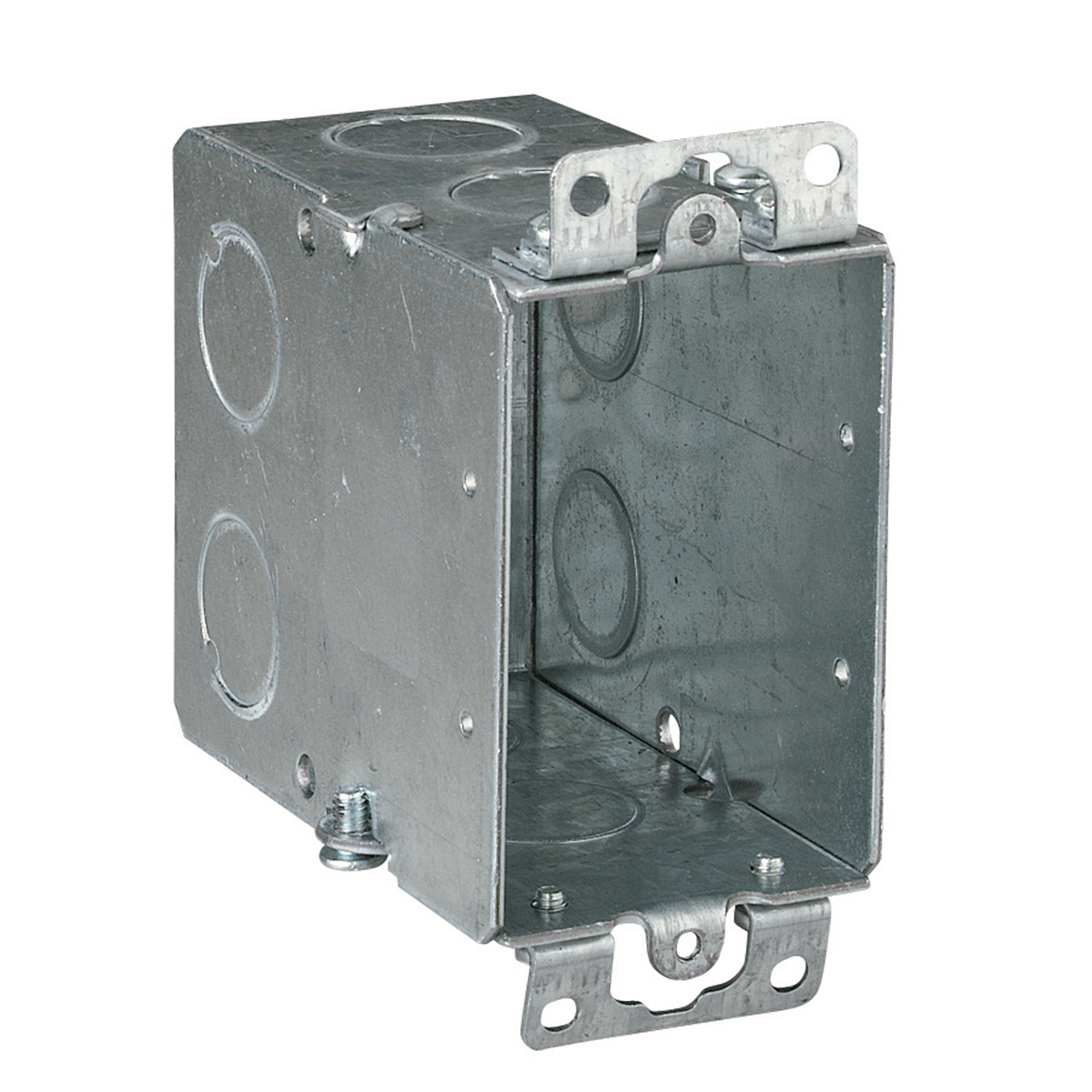 Steel City® Switch Box, Gangable, 1 Outlet, 1 Gang, 5 Knockouts, 1/2 in Knockout, Knockout Cable Entry, 18 cu-in Capacity, Steel, Electro-Galvanized, Silver, 3 in H x 2 in W x 3-1/2 in D Dimensions