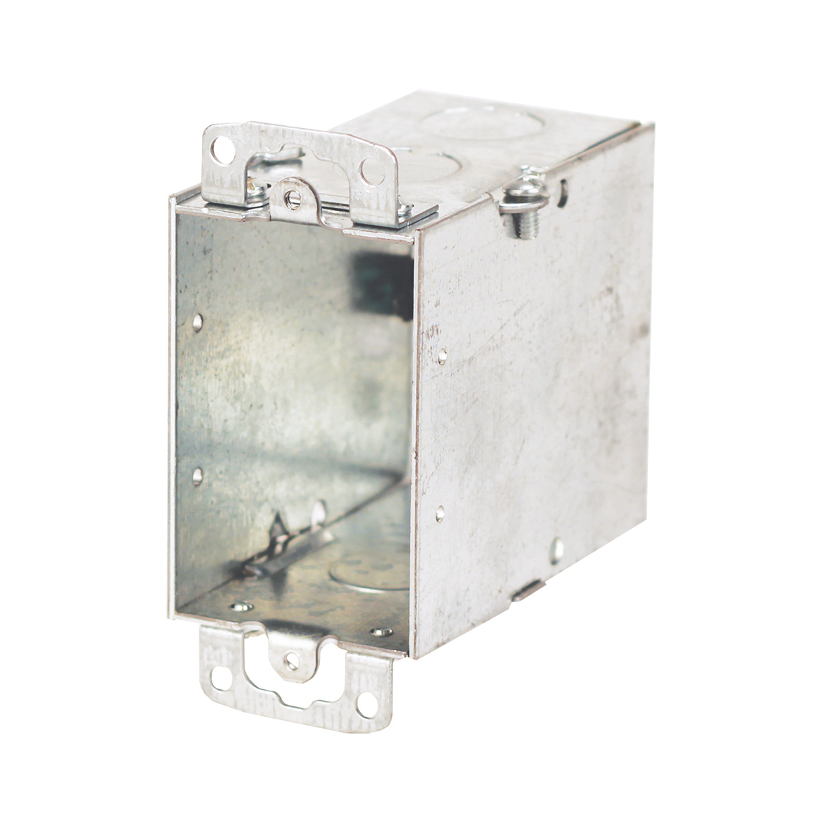 Gangable Switch Box, 18 Cubic Inches, 3 Inches Long x 2 Inches Wide x 3-1/2 Inches Deep, 1/2 Inch Knockouts, Pre-Galvanized Steel, Ears Flush and Ground Screw, For use with Conduit