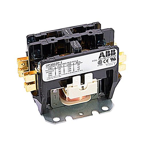 ABB DP30C2P-1 Definite Purpose Contactor; 30 Amp, 2 Pole, 120/6