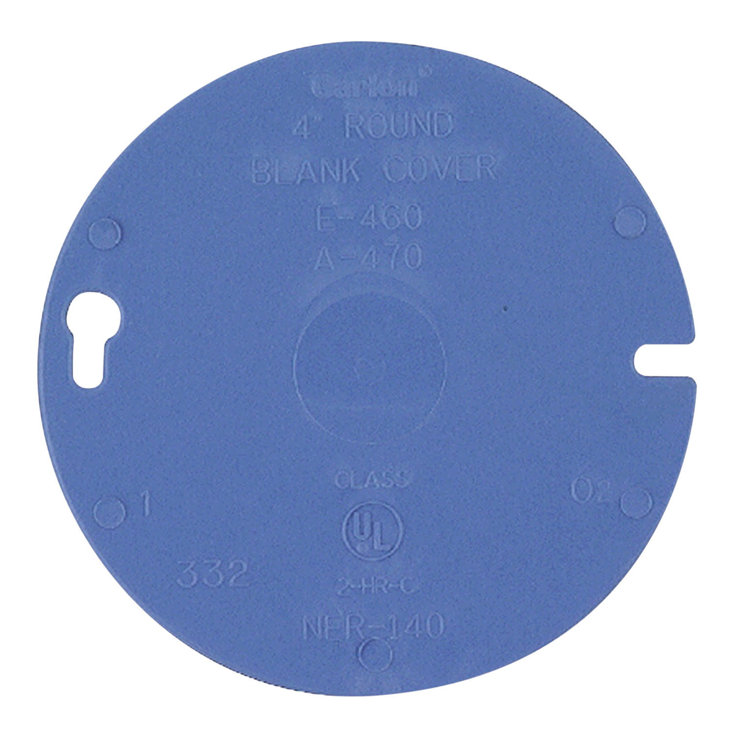 Carlon® Round Box Cover, Blank Non-Metallic, 1 Gang, 4 in Diameter, Round Shape, Ceiling Mounting, Blue
