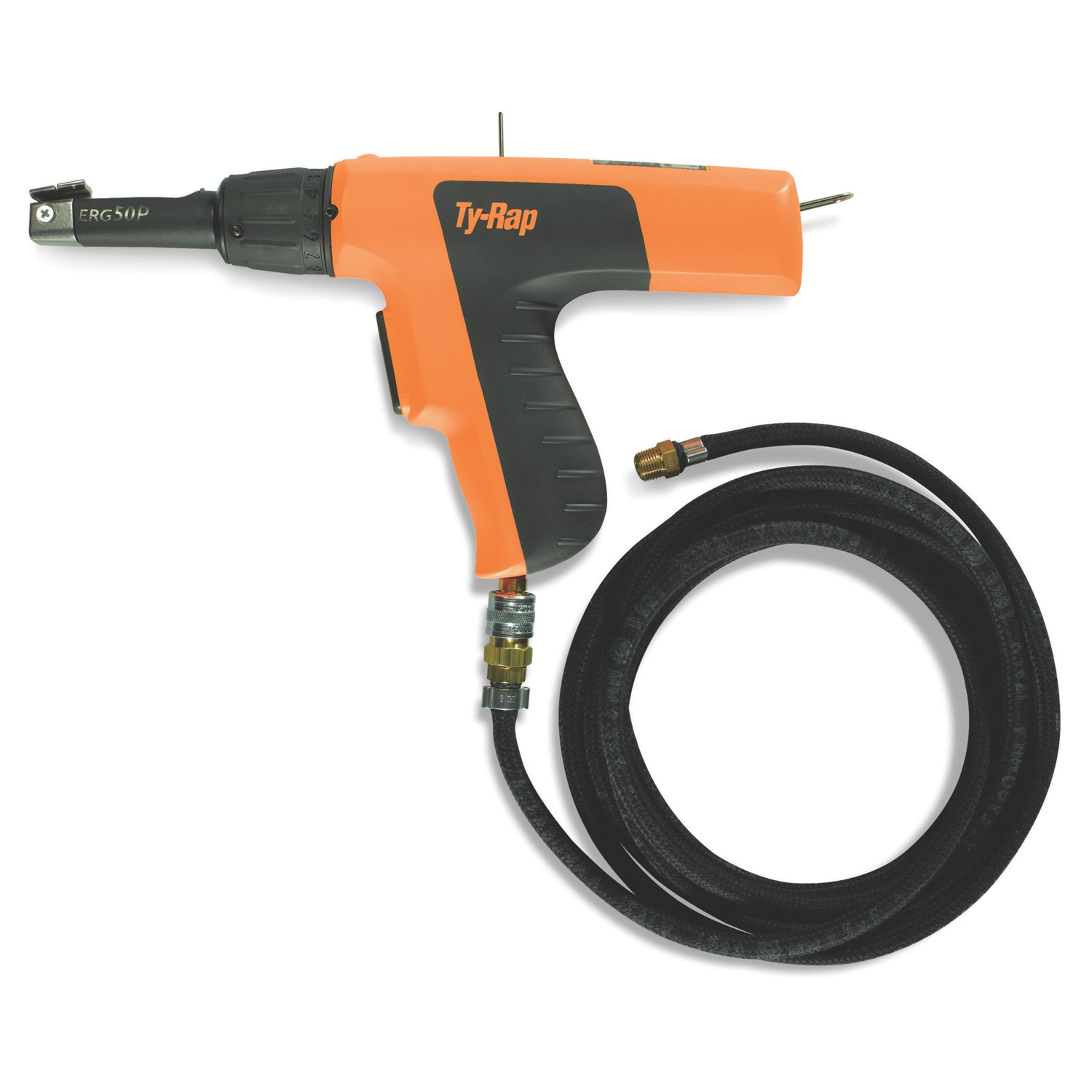 """T&B ERG50P Pneumatic Hand Installation Tool, for Nylon Cable Ties, 18-50 lbs, 0.94""""-.184"""" Tie Width. Includes 9ft Air Hose"""