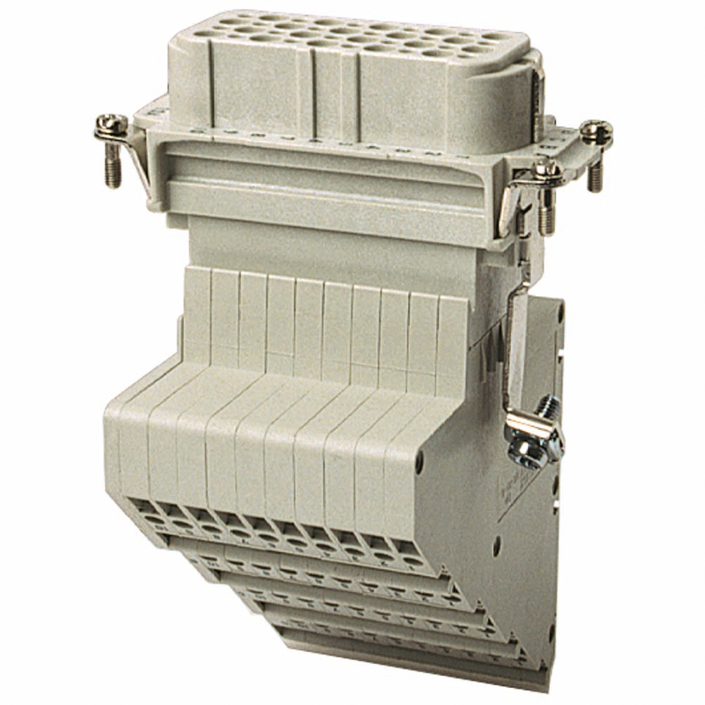Female screw terminal wiring adapter. For use with D series, 40 contacts with ground.