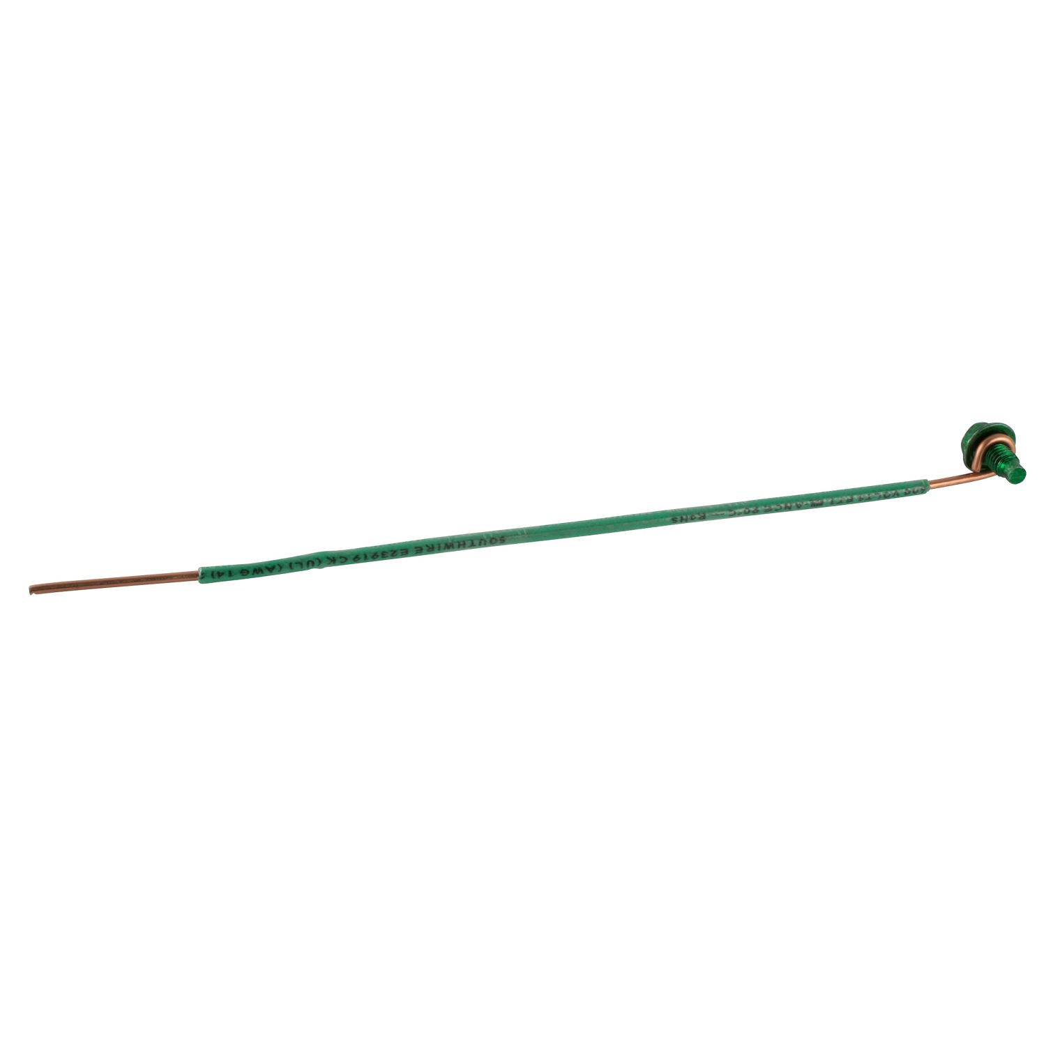 STCGSC-14 6 INCH #14 AWG INSULATED SOLID WIRE WITH GROUNDING SCREW. 10-32 X 3/8 INCH SLOTTED HEXAGON HEAD WASHER FACE SCREW WITH GREEN DYE FINISH., STEEL CITY