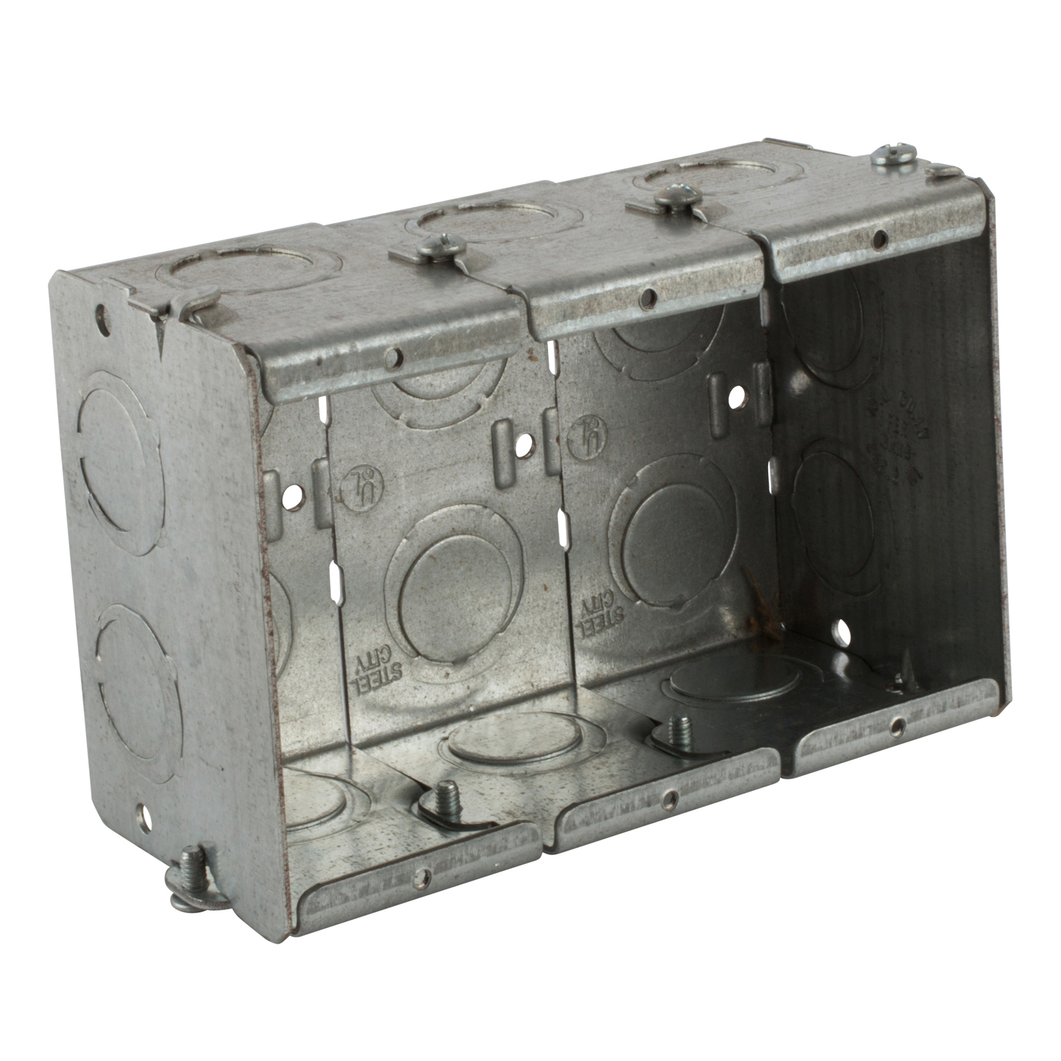Steel City Masonry Box, Gangable, Series: GW, 3 Gangs, 14 Knockouts, 1/2 and 3/4 in Knockout, Knockouts Cable Entry, Threaded Mount, 47.4 cu-in, Steel, Electro Galvanized, 3-3/4 in L x 5-9/16 in W x 2-1/2 in D