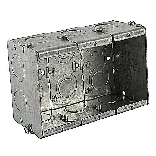 Steel City GW-325-G Steel City, 5 9/16 in. x 3 3/4 in. x 2 1/2 in. Pre-Galvanized Steel Gangable Masonry Box, 3 Gang