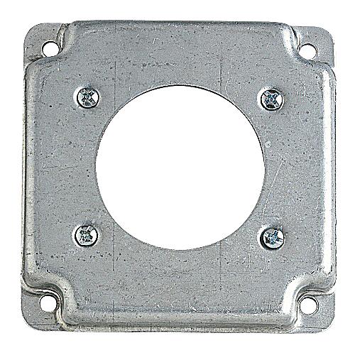 Steel City RS-13 4 In Square Box Cover; Range/Dryer, 2-5/32 In Diameter, 1/2 In Raised, Steel