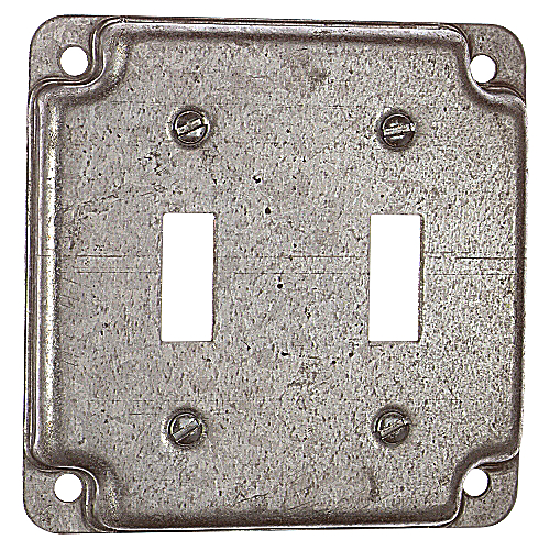 Steel City RS-5 4 in. Square Flush Receptacle Cover, For 2 Toggle Switches