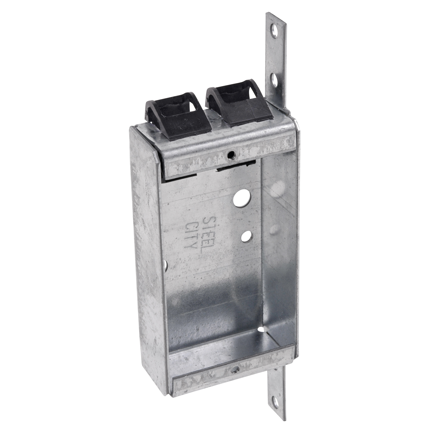 Steel City® Switch Box, Non-Gangable, 1 Outlet, 2 Knockouts, Knockout/Pryout Cable Entry, Panel Mounting, 6.5 cu-in Capacity, Steel, Electro-Galvanized, Silver, 3-3/4 in H x 2 in W x 1 in D Dimensions