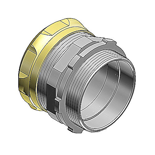 Steel City TC111A-RT 1/2 Inch Compression Connector; Steel-Zinc Plated, Raintight and Concrete Tight