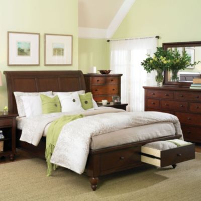 bedroom furniture beds aspen home cambridge sleigh storage bed in