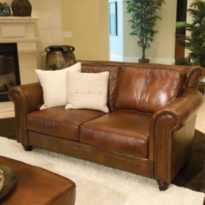 Elements Paladia Leather Loveseat In Rustic