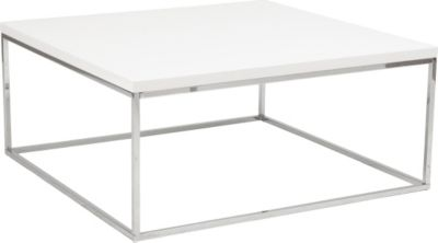 Euro Style Teresa Square Coffee Table In White Lacquer - White Lacquer Coffee Table CoffeTable