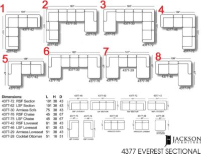 Jackson everest sectional you choose the configuration for Sectional sofa configurations