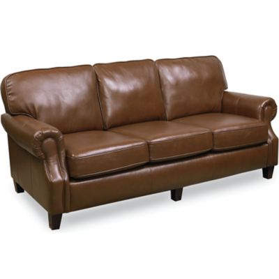 Lane emerson leather stationary sofa for Leather sectional sofa lane