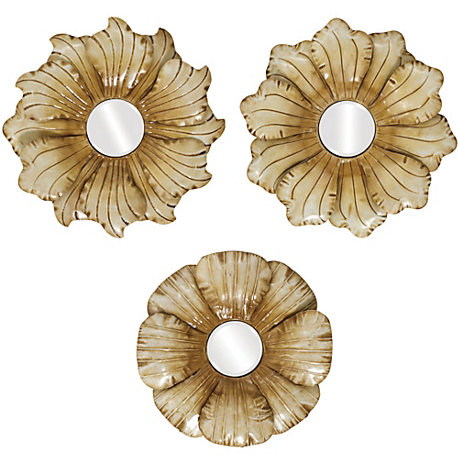 Wall Art Set Of 3 propac flower mirror 1-2-3 wall art set of 3