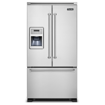 "French Door Cabinet Depth Refrigerator 36""W. French-Door Bottom-Freezer Refrigerator with Ice and ..."