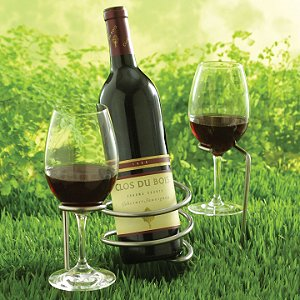 Set of Steady Sticks Outdoor Wine Bottle and Glass Holders by Wine Enthusiast