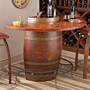 Vintage Oak Half Wine Barrel Bar