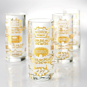 1950s Retro Highball Glasses (Set of 4) by Wine Enthusiast